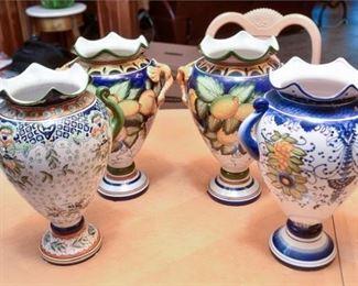 10. Four 4 Hand Painted Ceramic Vases