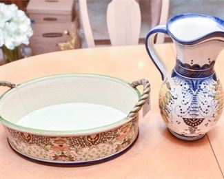 11. Decorative Ceramic Pitcher and Tray