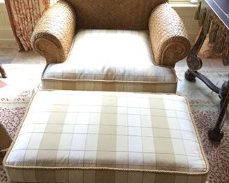 """(2 available) Wicker Arm Chair w/ottoman, wood base, light gold plaid fabric, seat 22"""" w x 27"""" d.   Extremely well built chairs."""
