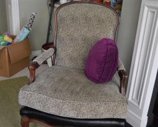 Vintage Leopard Print Upholstered Armchair