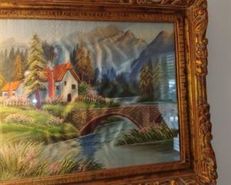 Wonderful vintage silk painting