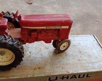 Metal red tractor toy