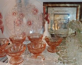 Pink Depression glass Tara and more