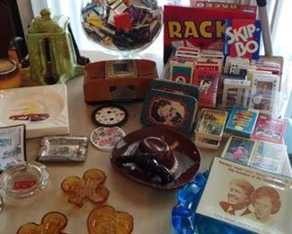 Vintage games ashtrays etc.