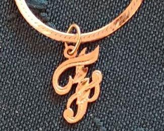 14 karat gold bracelet initial F