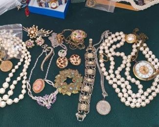Large selection of real and costume jewelry