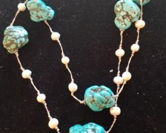 Beautiful turquoise and pearl necklace