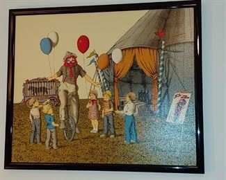 Original oil painting by H. Hargrove certificate of authenticity is on the back beautiful painting of old. fashioned Clown With Children at the circus