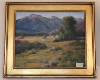 """Original oil painting on board by Robert Raab, Northwest painter & co-founder of the Gage Academy of Art. Framed size 21.5"""" x 25 (scene is Jackson Hole, Wyoming)"""