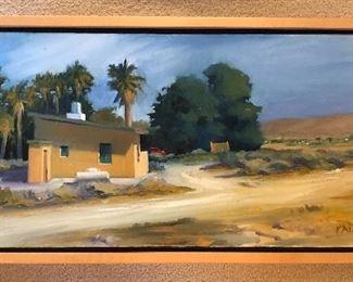 """Desert Cabin"" by Gary Faigin, 1999 oil painting on canvas, 15"" x 30, scene is Twenty Nine Palms, California."