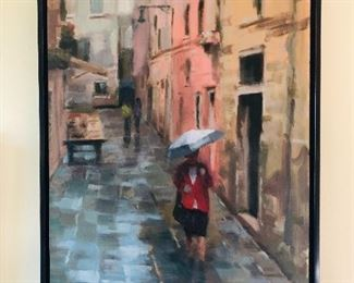 """Oil painting on canvas by Raab, canvas size 16"""" x 20""""."""