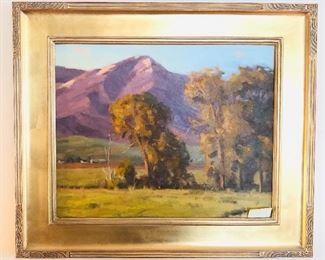 "Landscape oil painting on board by Robert Raab, framed size 22.5"" x 26.5 (scene is Bozeman, Montana)"