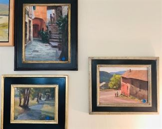 """More paintings by Robert Raab. Largest piece is 15"""" x 18""""."""