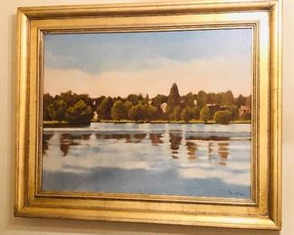 """Oil painting on canvas by Michael Friel, dated 2000, framed size 28"""" x 34.5"""" (view of Green Lake, Seattle)"""