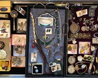 Jewelry & smalls:  highlights include Navajo silver shadow box bracelet w/ turquoise & coral, silver lipstick holder from Italy, sterling charm bracelet, real pearl choker, Mexican sterling & malachite pieces, pocket & wrist watches, Swedish pewter pendants, assorted pins & brooches