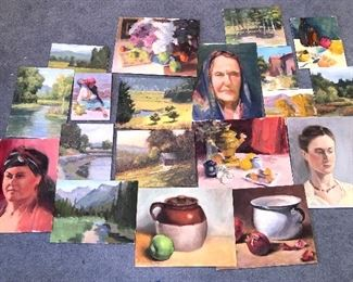 Just a few of the MANY unframed paintings by the same artist as photo #1