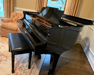 23. Steinway Piano, 1910 Refurbished, Ebony Polish, Series L 149802, Size:  5' 10 1/2""