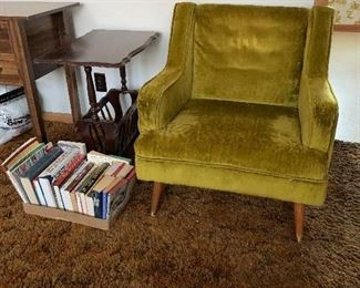 Mid century green chair and magazine table