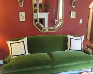 Classic 2 Cushion Sofa Custom Emerald Velvet Lee Industries - Sofa Removed From Sale Octagonal Mirror with Faceted Cut