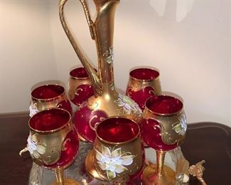 Vintage Murano wine decanter and 6 wine glasses accented with gold, Italy