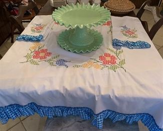 Vintage cross stitch tablecloth and hand linens