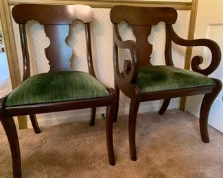 Six dining chairs, 2 arms and 4 sides