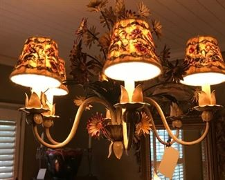 Tole chandelier with needlepoint shades