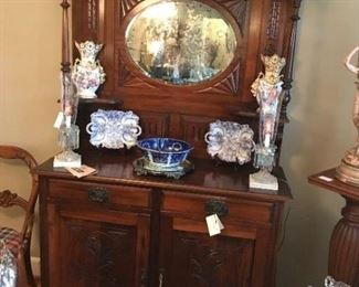 English sideboard with oval mirror
