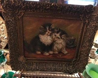 Oil painting of cats on board