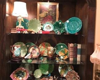 Collection of beautiful Majolica; raspberry oil painting