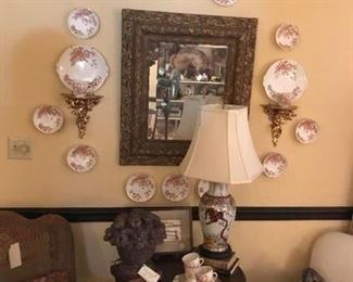 Beautiful set of transfer ware around antique mirror