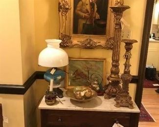 JW Brown painting circa 1860's; Victoria wash stand with marble top