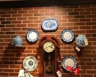 Happiness jars; flow blue; Victorian clock
