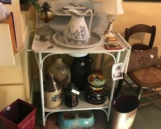 Very old metal wash stand with bowl and pitcher