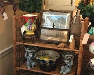 Bamboo shelf filled with treasures