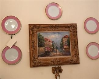 Oil painting city scene; 5 Royal Beyreuth plates