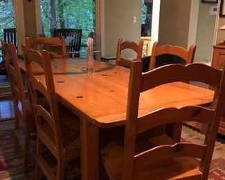 """Pine Dining Room Table with 8 Chairs.                                          77""""long 33 """"1/2 wide 30"""" tall"""
