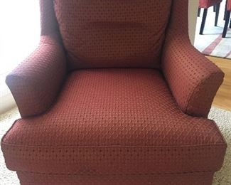 Custom Upholstered Rust Colored Arm Chair - Darleen's Interiors