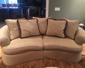"Custom Upholstered Beige Curved Sofa - 90"" (we have 2 of these)"