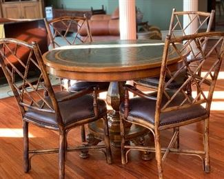 ROUNG WOOD/METAL/LEATHER TABLE W/ BAMBOO CHAIRS