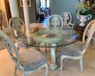 BEAUTIFUL ORNATE/GLASS KITCHEN TABLE