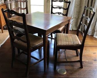 Fruitwood Games Table with Tapered Legs on Brass Casters
