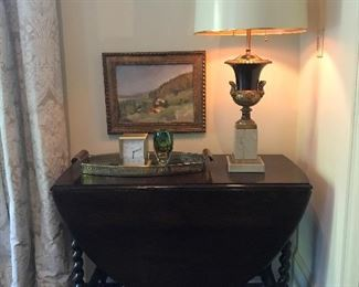 Antique barley twist gate leg table seats six.  Open it for holiday entertaining! Many beautiful lamps, both antique and contemporary.