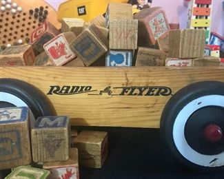 Vintage Radio Flyer wagon and various vintage wood toys