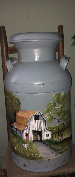 Hand painted vintage milk can