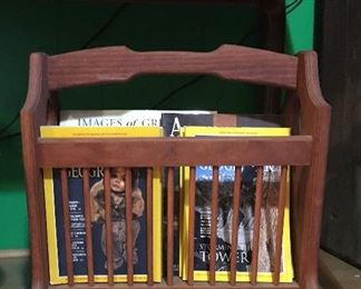 Vintage wood magazine rack