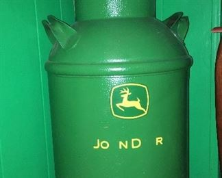 Vintage milk can with John Deere seat and decor