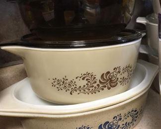 Vintage Pyrex:  brown casserole; Homestead (brown) & Homestead casserole