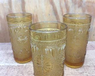 Vintage amber juice glasses