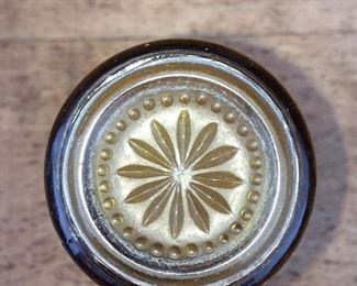 Bottom view of amber juice glasses